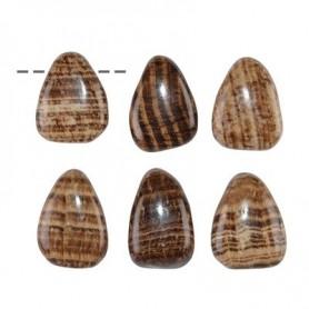 Trommelstein Aragonit (braun) gebohrt