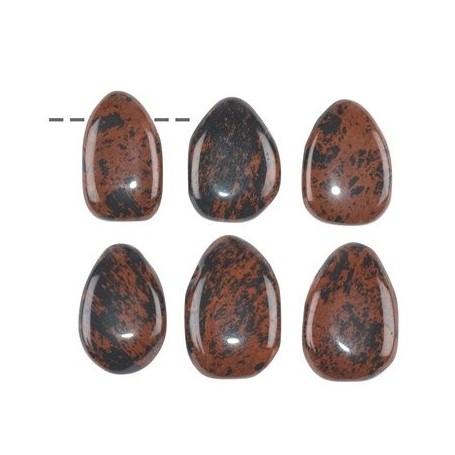 Trommelstein Obsidian (Mahagoni) gebohrt