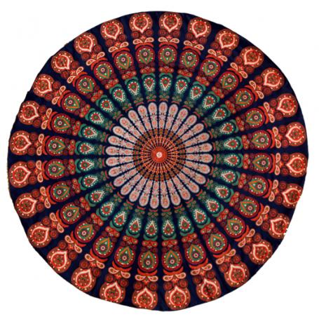 Stranddecke Mandala blau orange