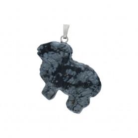 Anhänger Schaf Obsidian (Schneeflockenobsidian), 3,8cm