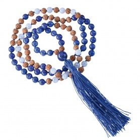 Edelsteinmala Kette Chalcedon, Lapis Lazuli (Kommunikation)