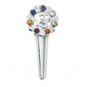 Anhänger Chakra-Kristall mit Om-Zeichen, 5,5cm, Messing versilbert