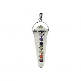 Anhänger Chakra-Kristall, 5,0cm, Silber