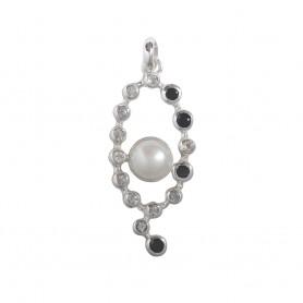 Anhänger Perle, Topas (weiß), Spinell (schwarz), 5,5cm