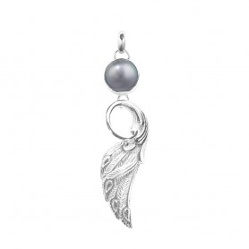 Anhänger Pfauenflügel Perle grau, 6,6cm