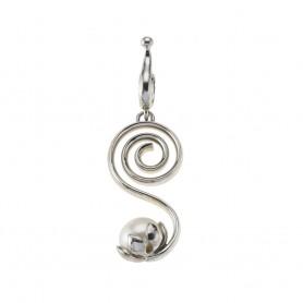 Anhänger Spirale mit Perle, 5,3cm, rhodiniert