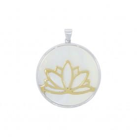 Anhänger Lotus Silber vergoldet auf Perlmutt, 3,9cm