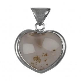 Anhänger Herz Achat mit Geode, Silberfassung, 45mm