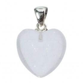 Anhänger Herz Bergkristall, Metallöse, 20mm