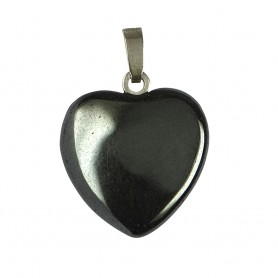 Anhänger Herz Hämatit, Silberöse, 15mm