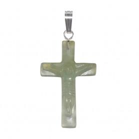 Anhänger Kreuz mit Jesus, Serpentin, 3,5cm