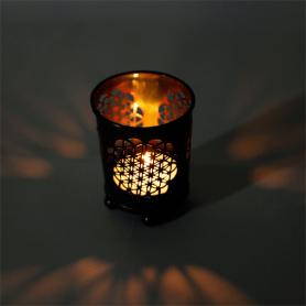 Teelichthalter 4er Set - Blume des Lebens in Bronze