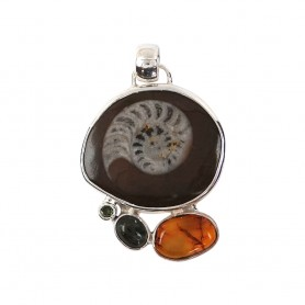 Anhänger Ammonit, Bernstein, Labradorit, Peridot, 4,9cm