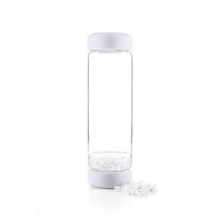 VitaJuwel Flasche Inu! Crystal | Cloud White mit Bergkristall