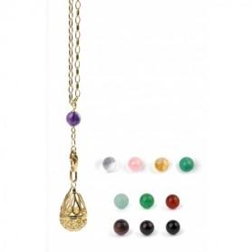 Gabriele Iazzetta - Kleines Wunschkugel Amulett Set + Transformationskette + Steine / Edelstahl vergoldet