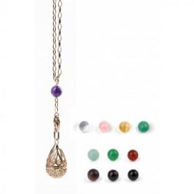 """Gabriele Iazzetta - Kleines Wunschkugel Amulett Set + Transformationskette + Steine / Edelstahl """"Rosé vergoldet"""""""