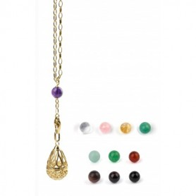 Gabriele Iazzetta - Großes Wunschkugel Amulett Set + Transformationskette + Steine / Edelstahl vergoldet