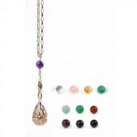"Gabriele Iazzetta - Großes Wunschkugel Amulett Set + Transformationskette + Steine / Edelstahl ""rosé vergoldet"""