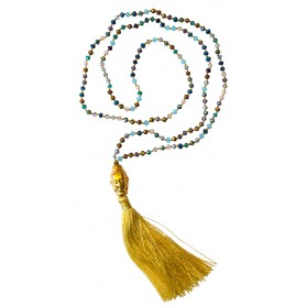 """Buddha Mala"" bunt/gelb mit 108 Glasperlen 58cm"