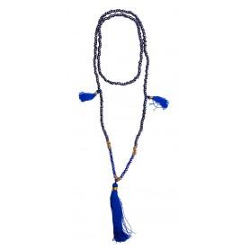 Mala schwarz mit blauen Glasperlen 58cm