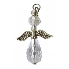 """Anhänger """"Engel des Lichts"""" Kristallglasperlen klar mit Metall 3cm"""