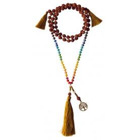 "Mala ""Chakra Baum des Lebens"" Rudraksha/Glassperlen mit Messinganhänger 52cm"
