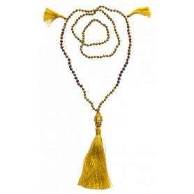 """Buddha Mala"" gold mit Glasperlen"