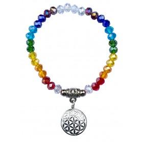 "Tikra ""Blume des Lebens Rainbow"" Kristallglasperlen/Messing versilbert 6cm"