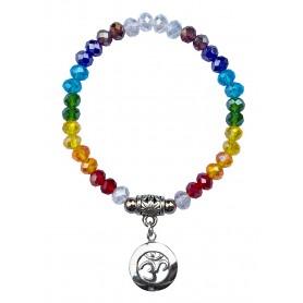 "Tikra ""Om Rainbow"" Kristallglasperlen/Messing versilbert 6cm"