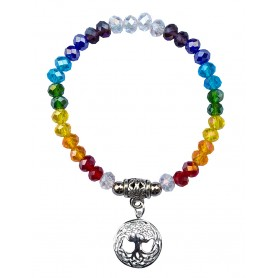 "Tikra ""Baum des Lebens Rainbow"" Kristallglasperlen/Messing versilbert 6cm"