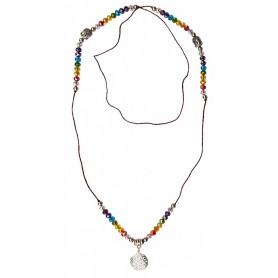 "Buddha Mala ""Blume des Lebens Rainbow"" Kristallglasperlen/Messing versilbert 48c"