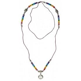 "Buddha Mala ""Baum des Lebens Rainbow"" Kristallglasperlen/Messing versilbert 48cm"