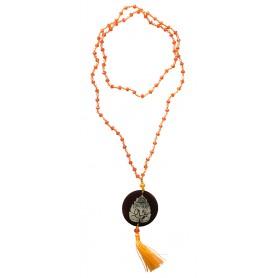 """Mala """"Ganesha"""" Glasperlen Orange mit gelaserter Muschelscheibe 45cm"""