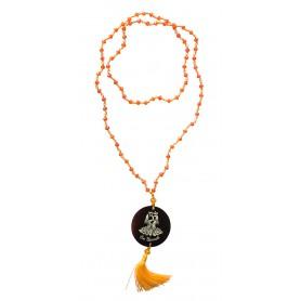 """Mala """"Om Namaste"""" Glasperlen Orange mit gelaserter Muschelscheibe 45cm"""