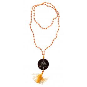 """Mala """"Gayathri Mantra"""" Glasperlen Orange mit gelaserter Muschelscheibe 45cm"""