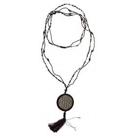 """Mala """"Flower of Life"""" Glasperlen schwarz mit gelaserter Muschelscheibe 46cm"""