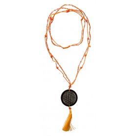 """Mala """"Flower of Life"""" Glasperlen orange mit gelaserter Muschelscheibe 46cm"""