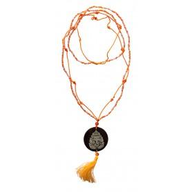 """Mala """"Ganesha"""" Glasperlen orange mit gelaserter Muschelscheibe 46cm"""