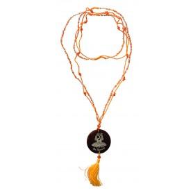 """Mala """"Om Namaste"""" Glasperlen orange mit gelaserter Muschelscheibe 46cm"""