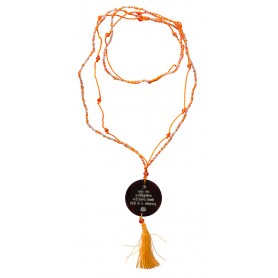 """Mala """"Gayathri Mantra"""" Glasperlen orange mit gelaserter Muschelscheibe 46cm"""