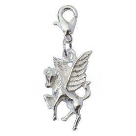 "Anhänger Karabiner ""Pegasus"" Messing-versilbert 2x1cm"