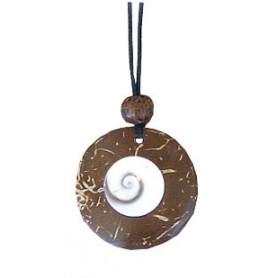 Halskette Kokosnuss mit Shiva-Eye 3cm