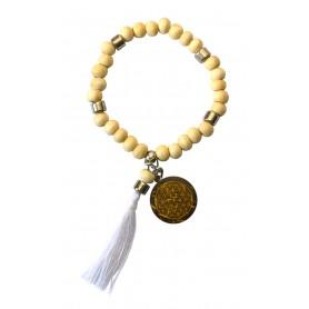 """Tikra """"Blume des Lebens""""  Holz natur mit 27 Perlen elastisch Ø 6cm"""