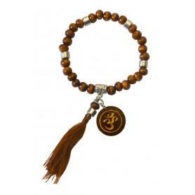 """Tikra """"Om""""  Holz braun mit 27 Perlen elastisch Ø 6cm"""