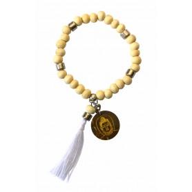 """Tikra """"Buddha""""  Holz natur mit 27 Perlen elastisch Ø 6cm"""