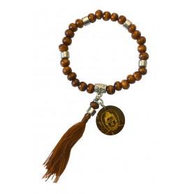"""Tikra """"Buddha""""  Holz braun mit 27 Perlen elastisch Ø 6cm"""
