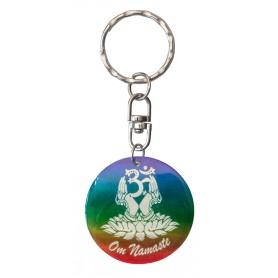 """Schlüsselanhänger """"Om Namaste"""" Muschel rainbow 3"""