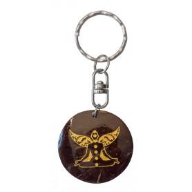 "Schlüsselanhänger ""Chakra Buddha"" Coconut lackiert 3"