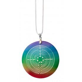 "Halskette ""Labyrinth Chartres"" Muschel Airbrush rainbow 5cm"