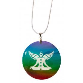 """Halskette """"Chakra Buddha"""" Muschel Airbrush rainbow 5cm"""